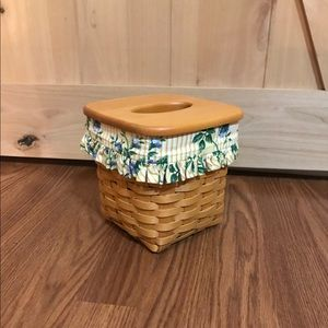 1998 Longaberger Tissue Basket w/ Floral Liner